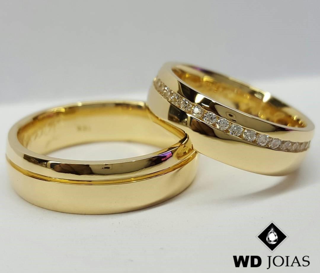 Alianças de Moeda Antiga Casamento Reta Polidas 7mm MJM162