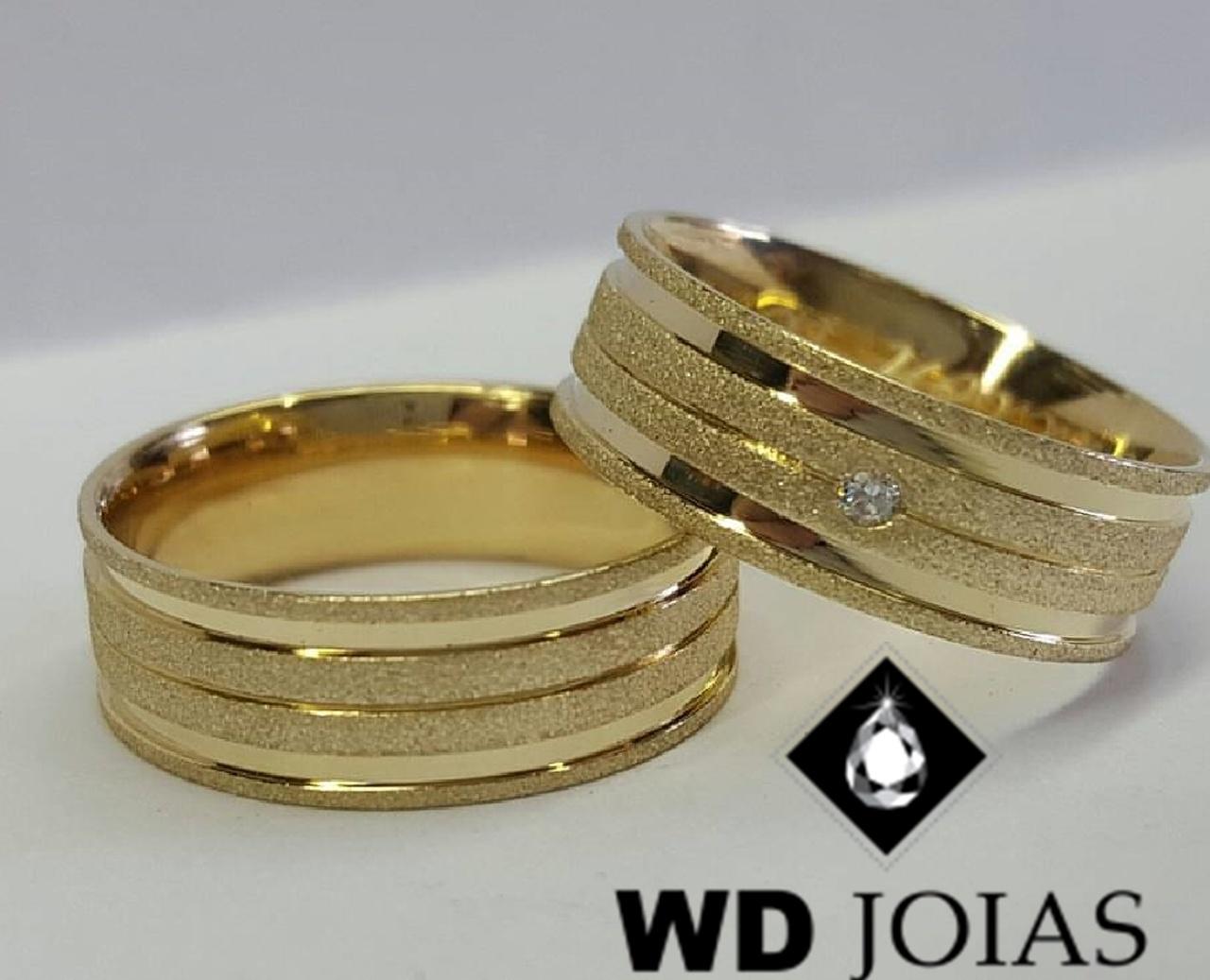 Alianças de Ouro Diamantadas e Polidas 7mm 17g WD9012