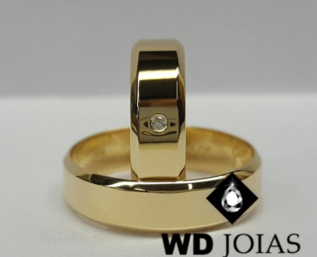 Alianças de Ouro Italiana Polidas 4mm 8g WD9008