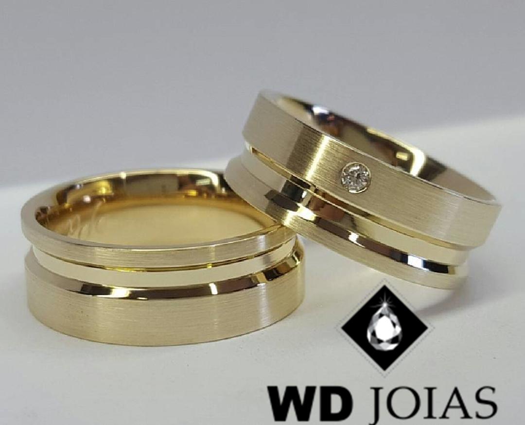 Alianças de Ouro Polidas e Foscas 7mm 17g WD9014