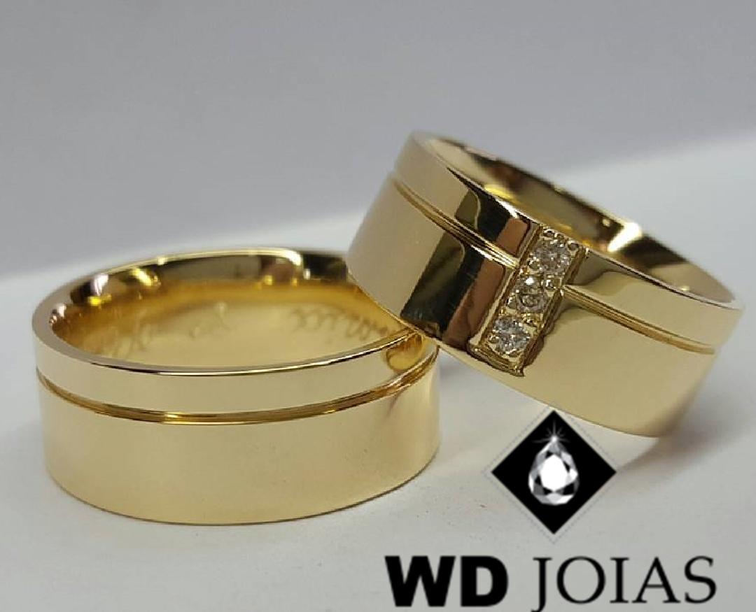 Alianças de Ouro Polidas e Quadradas 8mm 18g WD9015