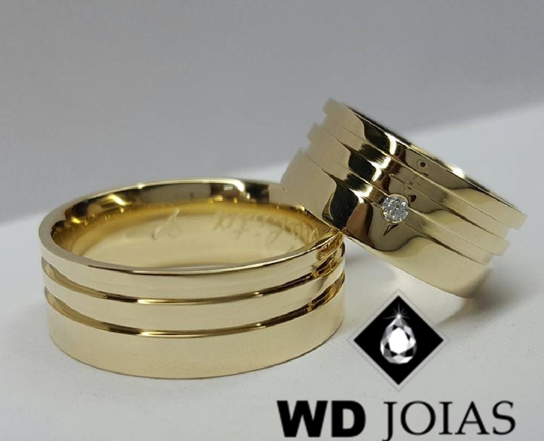 Alianças de Ouro Polidas e Quadradas 9mm 20g WD9016