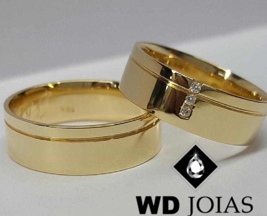 Alianças de Ouro Reta e Polidas 7mm 15g WD9011