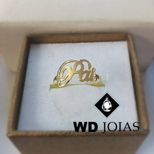Anel de Ouro com a Letra Pai 3g MJA45