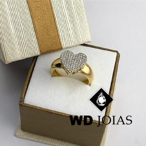 Anel de Ouro Com Coração de Brilhante 6mm 8g MJA57