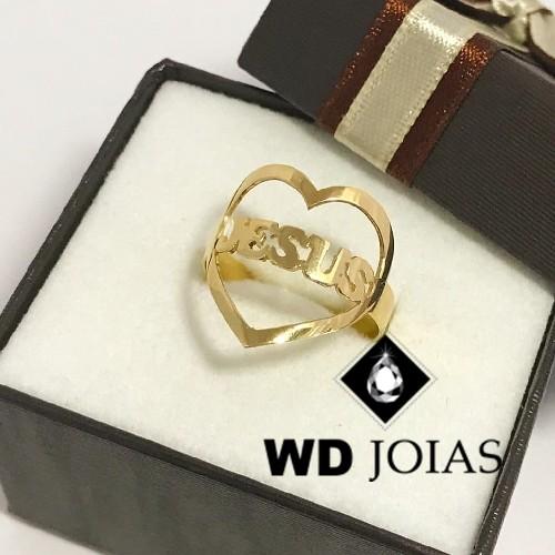 Anel de Ouro Com Coração de Jesus 6g MJA38