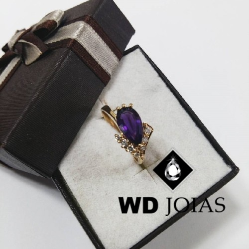 Anel de Ouro Com Pedra Ametista 2mm 3g MJA52