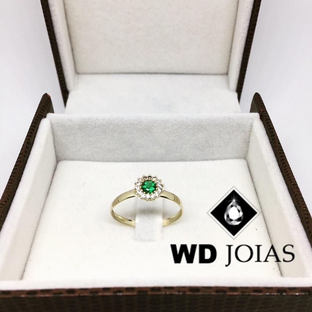 Anel de Ouro Com Pedra Esmeralda 2mm 2g MJA65