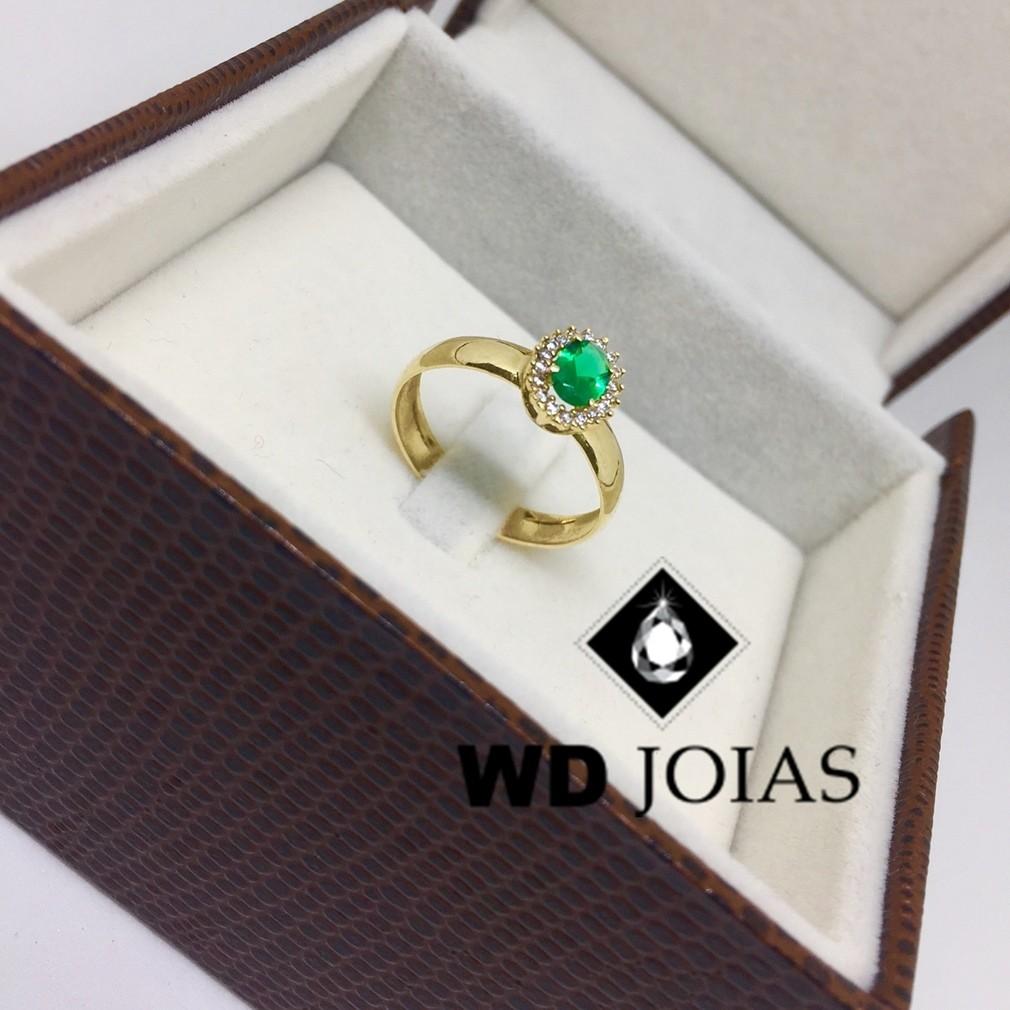 Anel de Ouro Com Pedra Esmeralda 3mm 4g MJA64