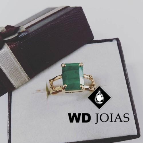 Anel de Ouro Com Pedra Malaquita Polida 4mm 4g MJA50