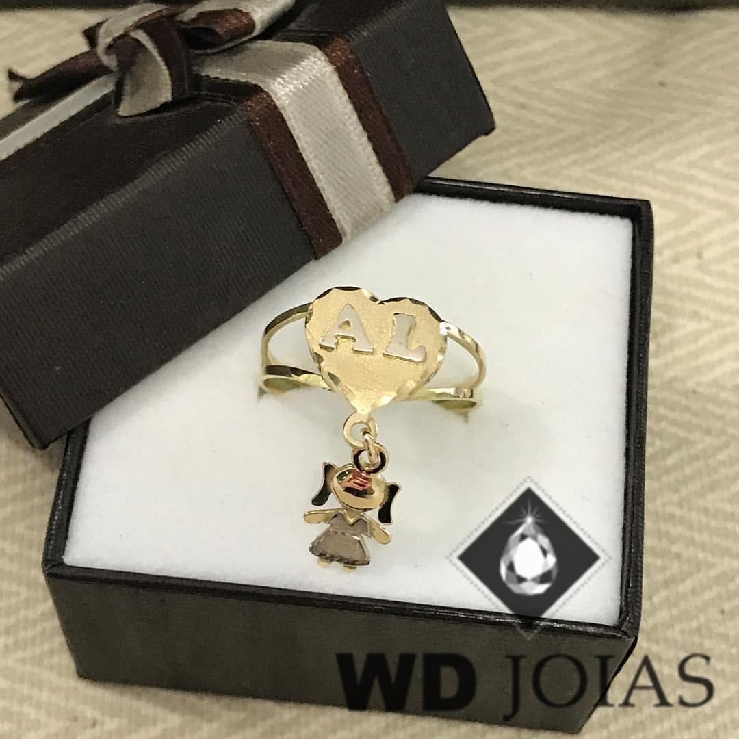 Anel de Ouro Com Pingente Menininha 3mm 5g MJA71