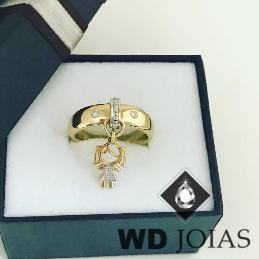 Anel de Ouro Com Pingente Menininha 5mm 7g MJA60