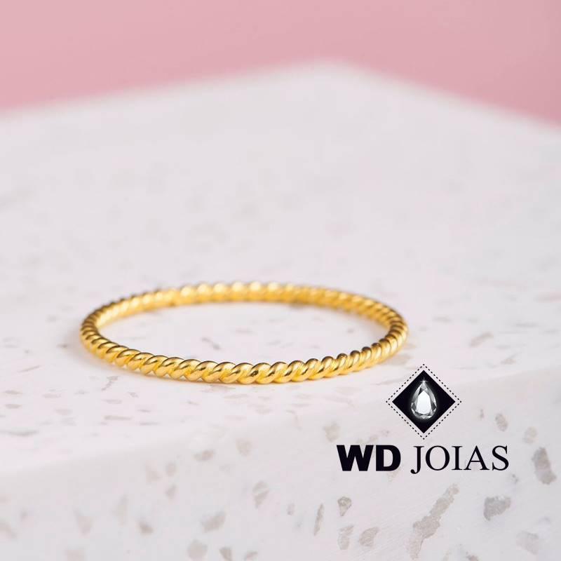 Anel de Ouro Corda Feminino Polida 2g MJA139