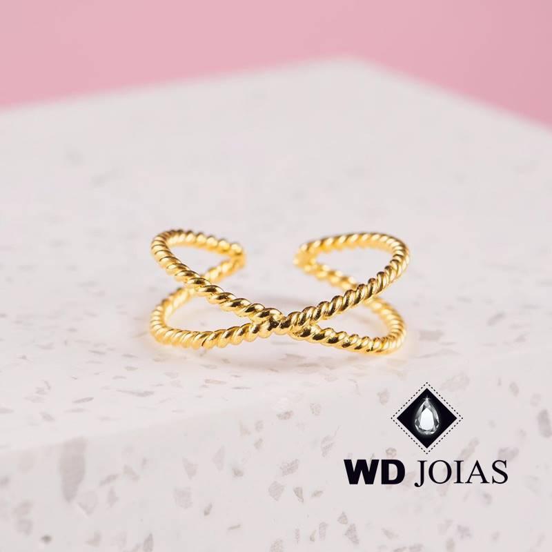 Anel de Ouro Corda Feminino Trabalhado 4g MJA137