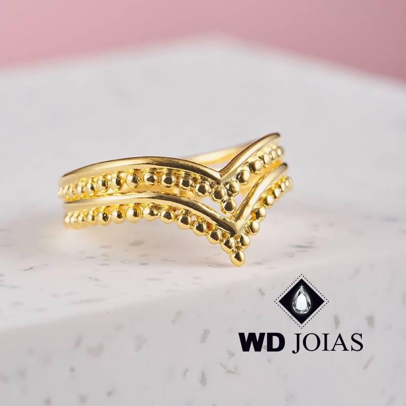Anel de Ouro Coroa Dupla Feminino Polida 3,5g MJA138