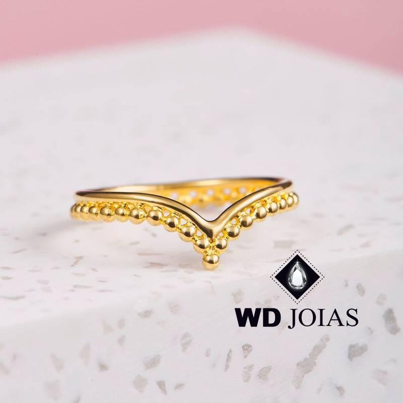 Anel de Ouro Coroa Feminino Polida 2,5g MJA135