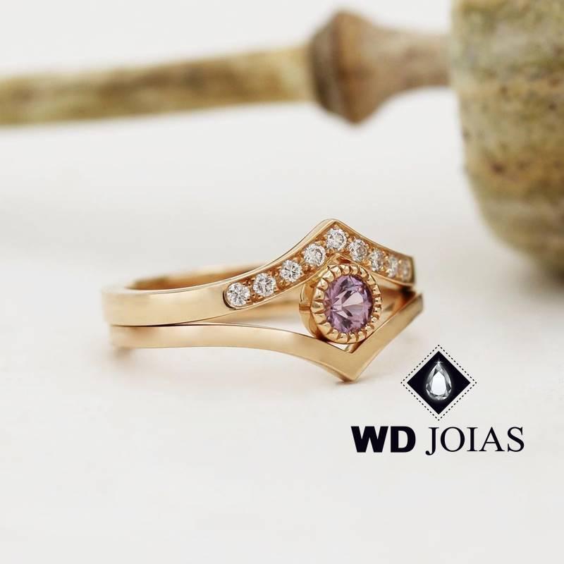 Anel de Ouro Feminino Com Pedra Ametista 3,5g MJA122