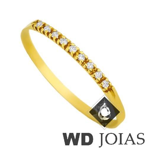 Anel de Ouro Meia Aliança com Zircônia Branca MJA10