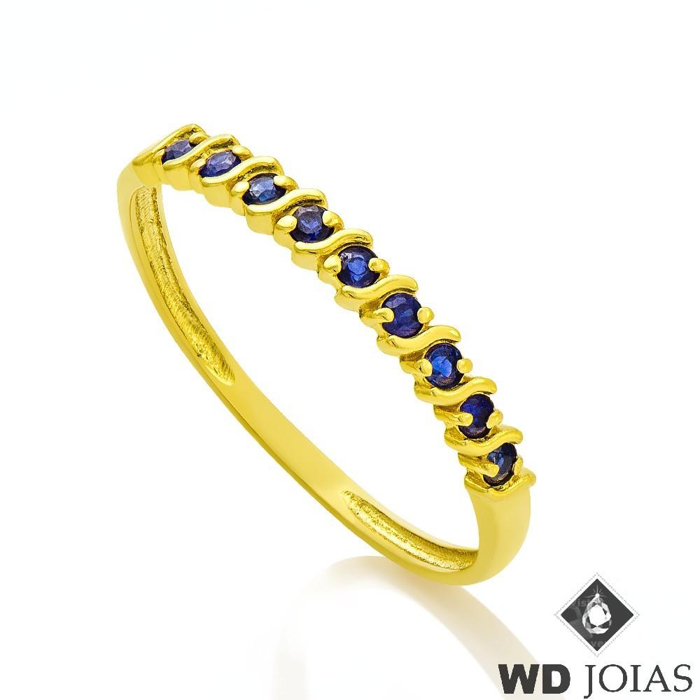 Anel de Ouro Meia Aliança Polida com Pedras 1,5g MJA18