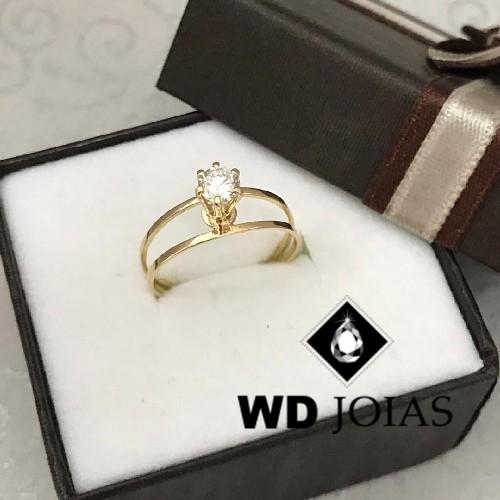 Anel de Ouro Polida Com Pedra 1,7g MJA42