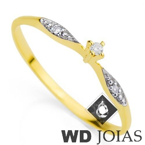 Anel Solitário Ouro com Pedra Zircônia MJA27
