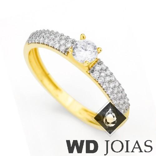 Anel Solitário Ouro com Zircônia MJA29