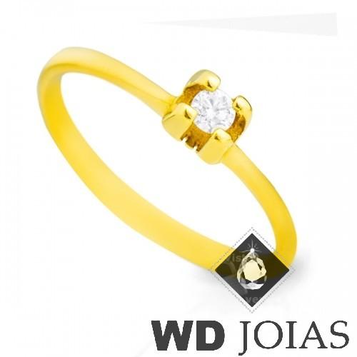 Anel Solitário Ouro Polida 1,6g MJA33