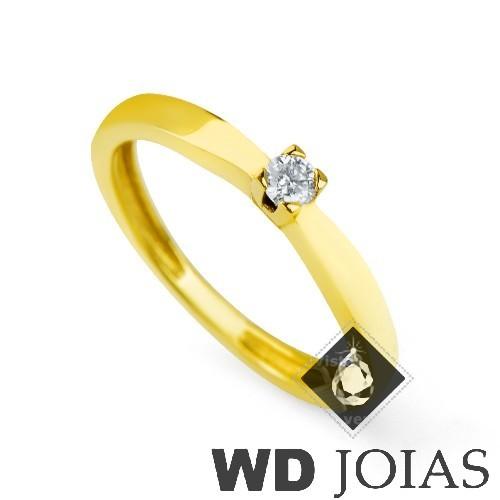 Anel Solitário Ouro Polida 2g MJA28