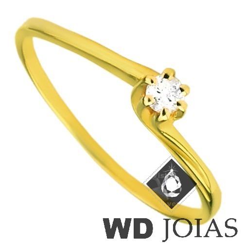Anel Solitário Ouro Polida com Pedra de Zircônia MJA32