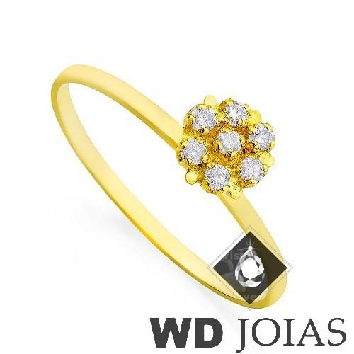 Anel Solitário Ouro Polida com Pedras 1,3g MJA31
