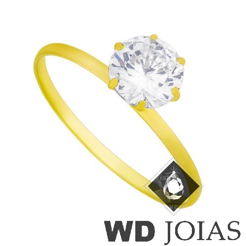 Anel Solitário Ouro Polida com Zircônia MJA35