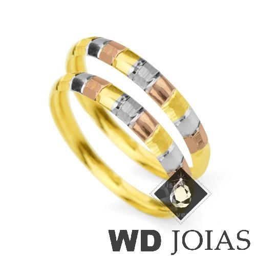 Aparador de Aliança Ouro Polida e Diamantada 2,0g MJA08