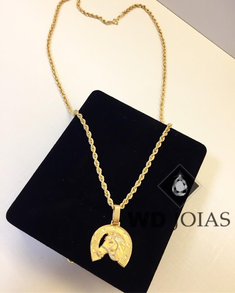 Corrente Ouro 18k Baiano Com Pingente 50 cm 7,4gr WD8896
