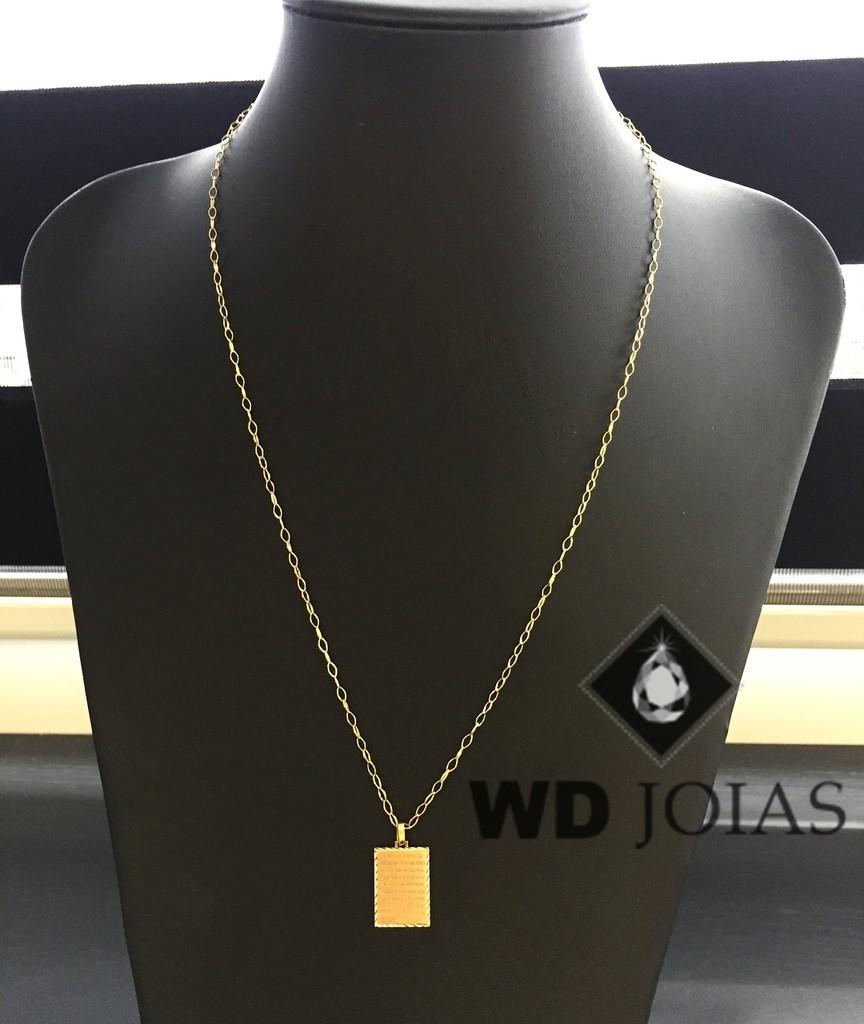 Corrente Ouro 18k com Pingente Pai Nosso 60 cm 3,8g WD8880