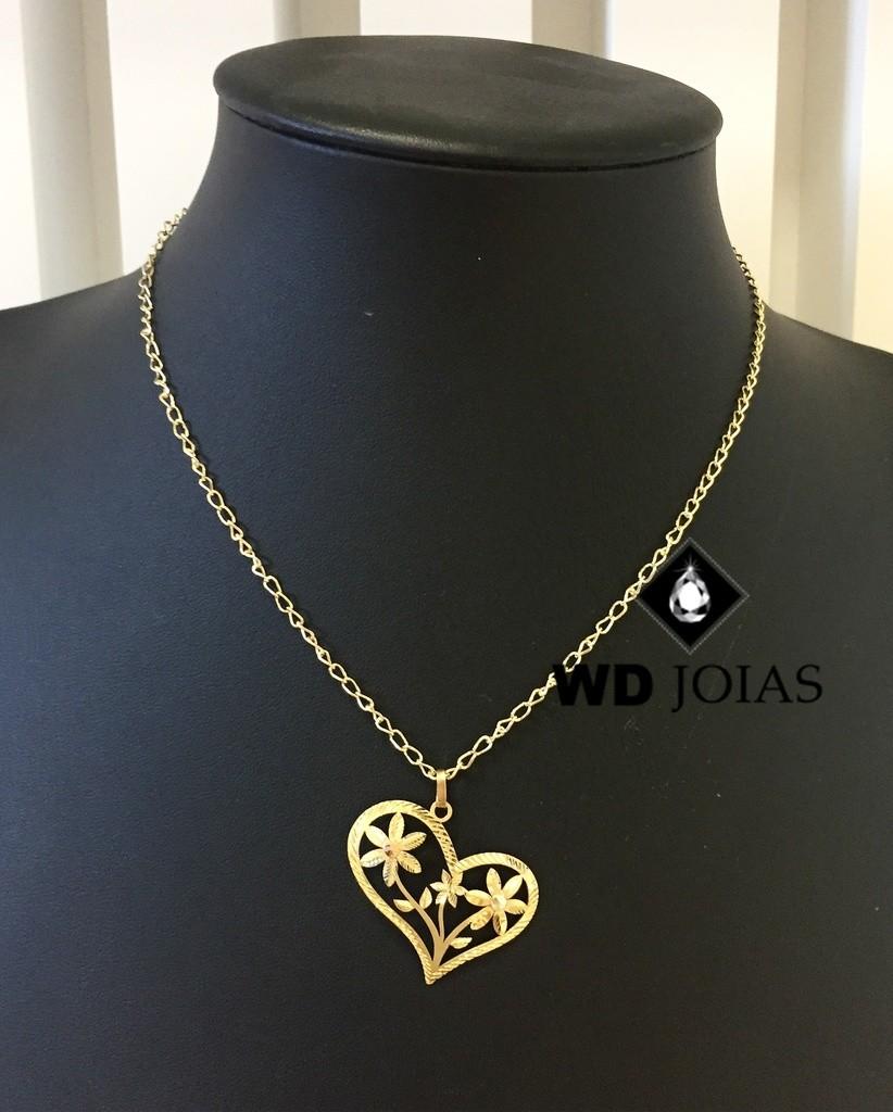 Corrente Ouro 18k Feminina Com Coração 40 cm 5,8gr WD8904