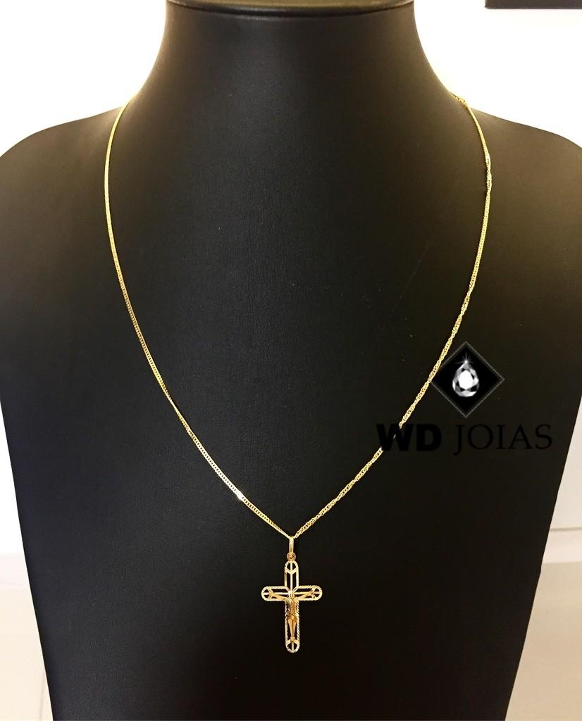 Corrente Ouro 18k Groumet Com Pingente 50 cm 3,9gr WD8901