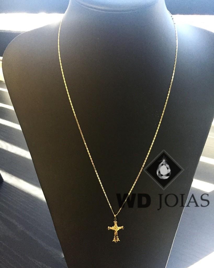 Corrente Ouro 18k Piastrine Com Pingente 60 cm 3,9gr WD8925