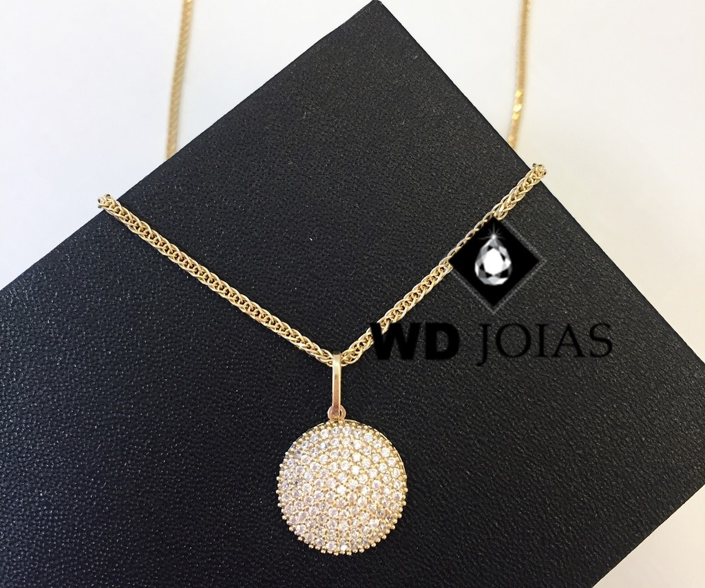 Pingente de Ouro Cravejado de Pedras Feminina 3gr WD9007