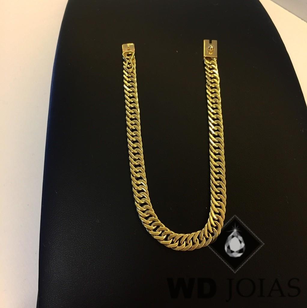Pulseira de Ouro Groumet Elo Duplo 21cm 37gr WD8987