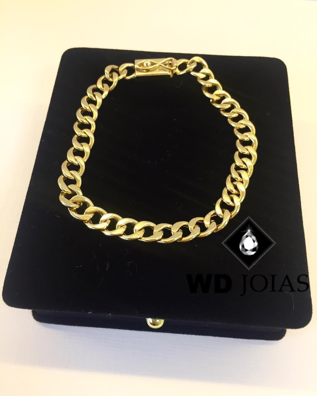 Pulseira de Ouro Groumet Masculino 21cm 30gr WD8977