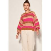 Blusa Tricot Marrom Com Listra Pink