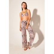 Calça Pantalona Nó Leopard