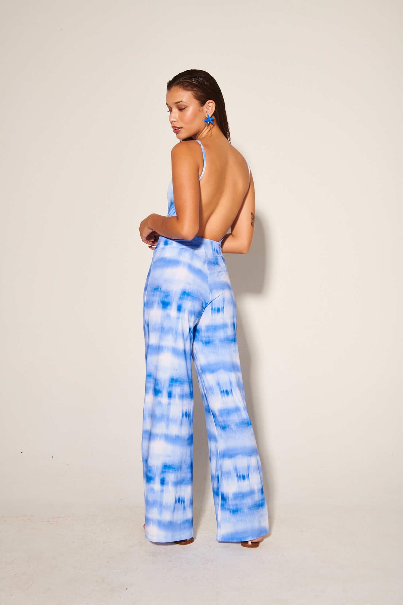 Calça Pantalona Nó Tie Dye Blue