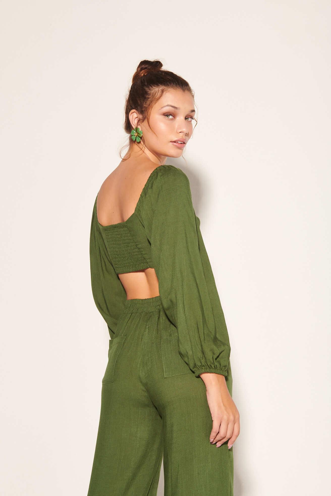 Cropped Ayla com Calça Stella Verde