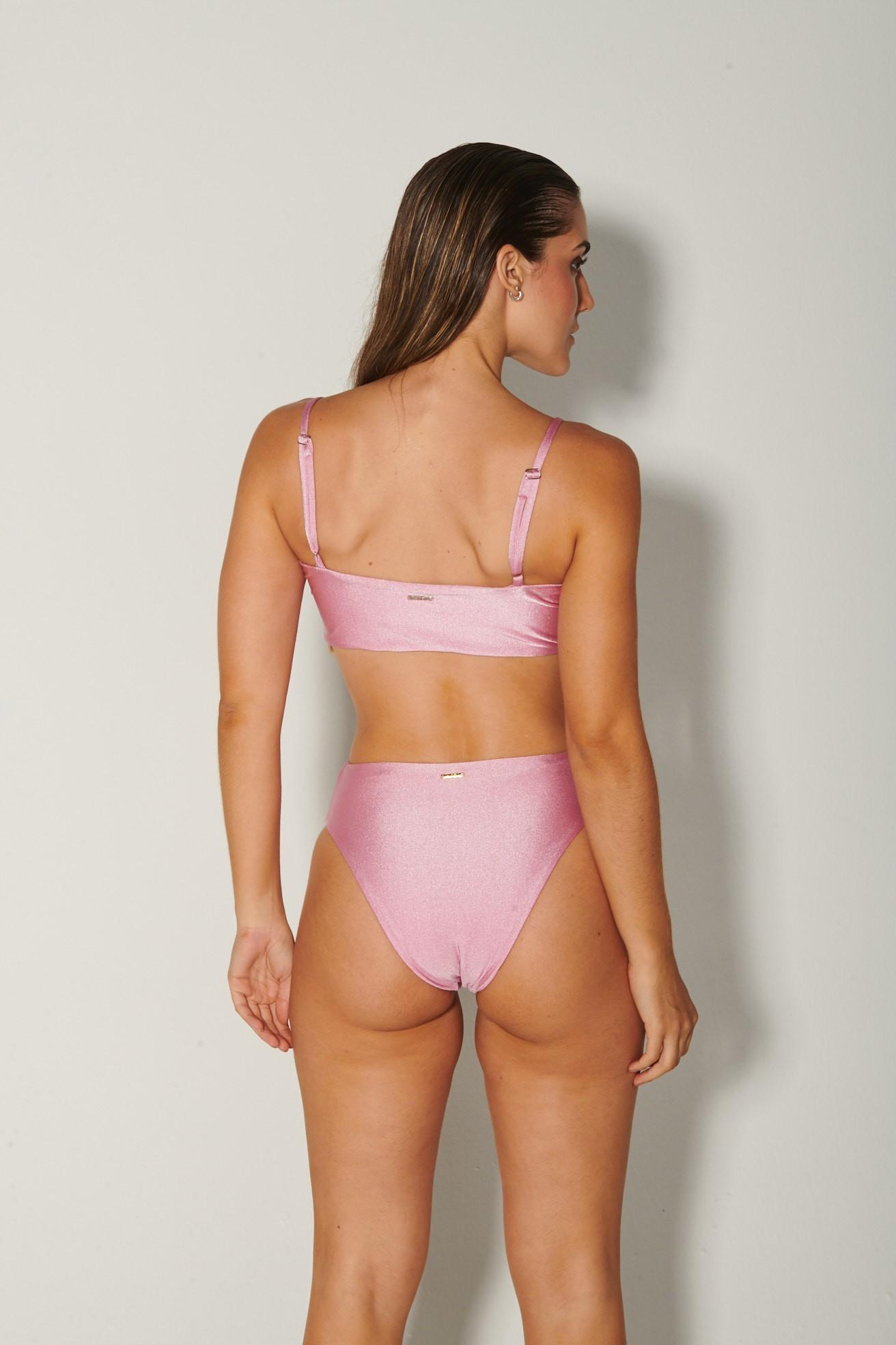 Top Alça com Hot Pants Rosa Brilho