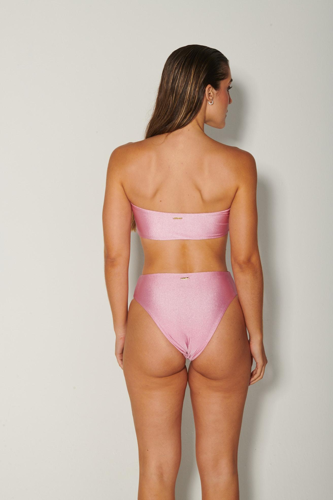 Top Tqc Reto com Calça Hot Pants Rosa Brilho