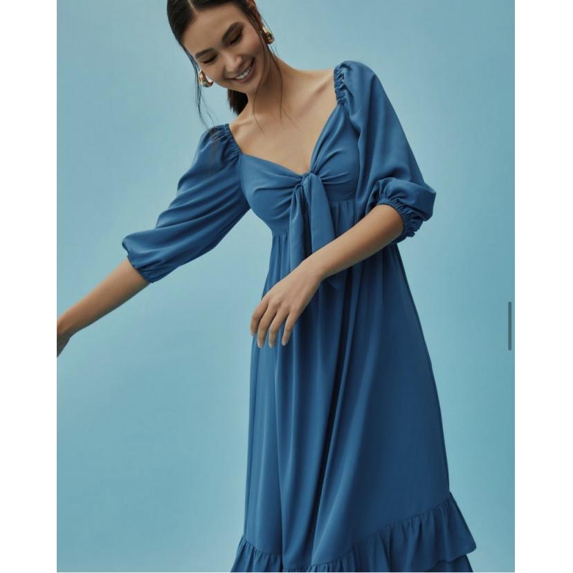 Vestido Midi Cris Azul
