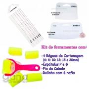 Kit espátulas + réguas de cartonagem fio cabelo+rolinho