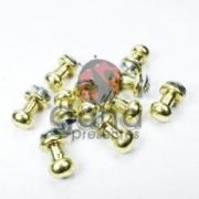 Metais - Puxador de metal carrapeta 10mm Dourado com 10 unid para cartonagem 10unid