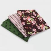 Tecido de Revestimento Cartonagem - Kit 3 tecidos Composê Rosas Poá Verde Composês Poa
